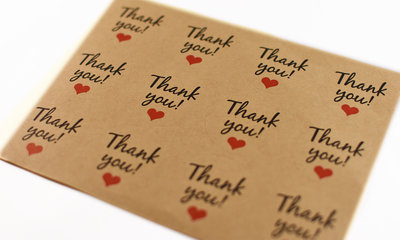 12 stickers van 4cm rond - Thank you