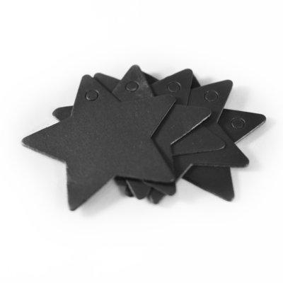 5x Zwarte ster - label voor aan een cadeau