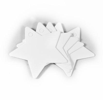 5x Witte ster - label voor aan een cadeau