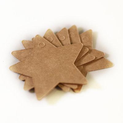 5x kraft ster - label voor aan een cadeau
