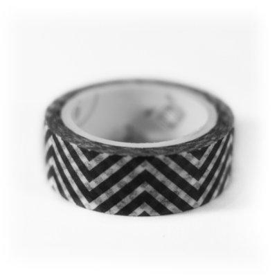 Washi tape zwart met witte strepen zigzag