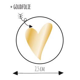 8 stickers hart van goud 2,5 cm
