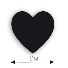 10 stickers - zwart hartje 2,5 cm