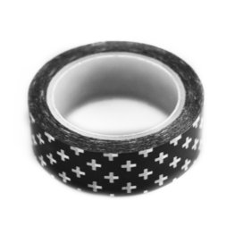 Washi tape zwart met witte kruis