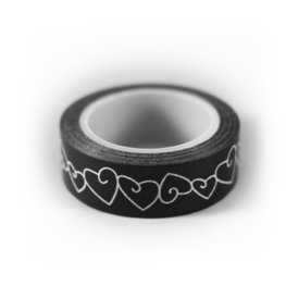 Washi tape zwart met wit hartje