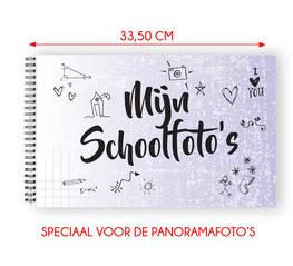 Mijn schoolfoto boek paars XL - voor de panorama klassenfoto 21 x 33,5 cm