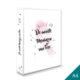 A4 - Tekenmap met eigen titel - roze