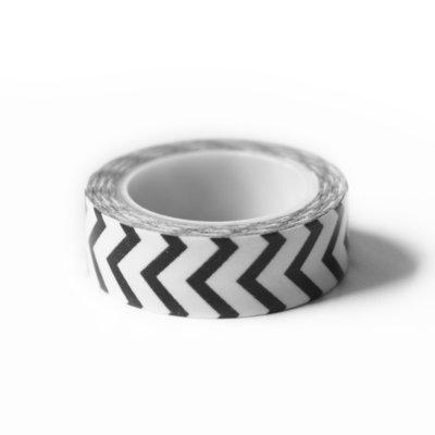Washi tape zwart verticale zigzag