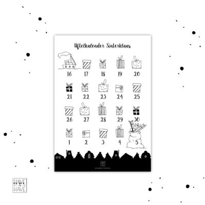 Thuis printen - Sinterklaas aftelkalender
