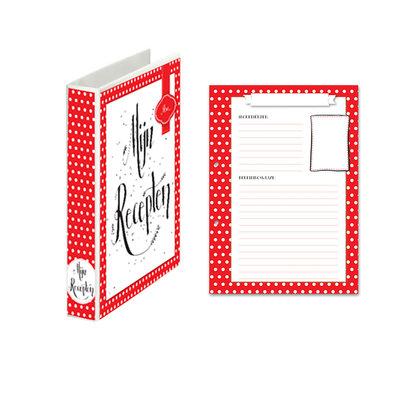 Mijn receptenboek rood met witte stippen A5