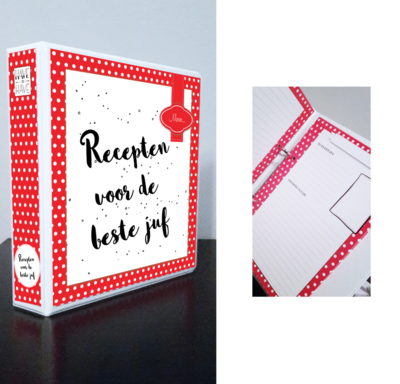 Mijn receptenboek rood met witte stippen A5 voor de juf of meester