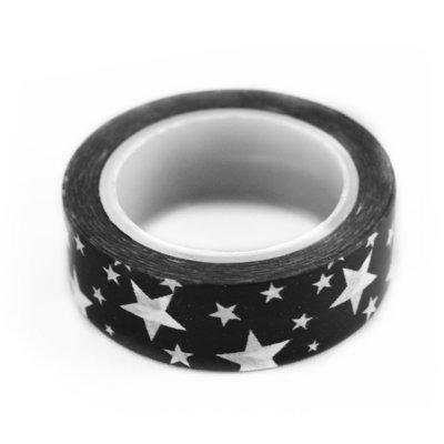 Washi tape zwart met witte ster