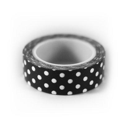 Washi tape zwart met witte stip
