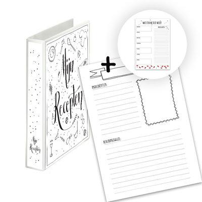 Mijn receptenboek A5 zwart-wit + notitieblok