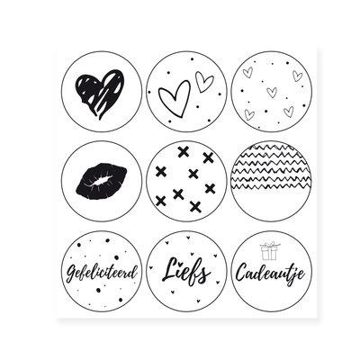 Set van 9 stickers met witte achtergrond