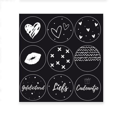 Set van 9 stickers met zwarte achtergrond