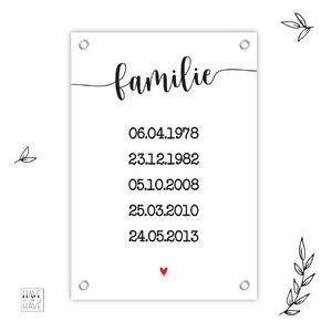 Tuindoek geboortedatums gezin