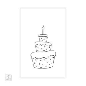 kaartje met taart