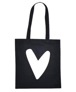 zwarte tas met wit hart